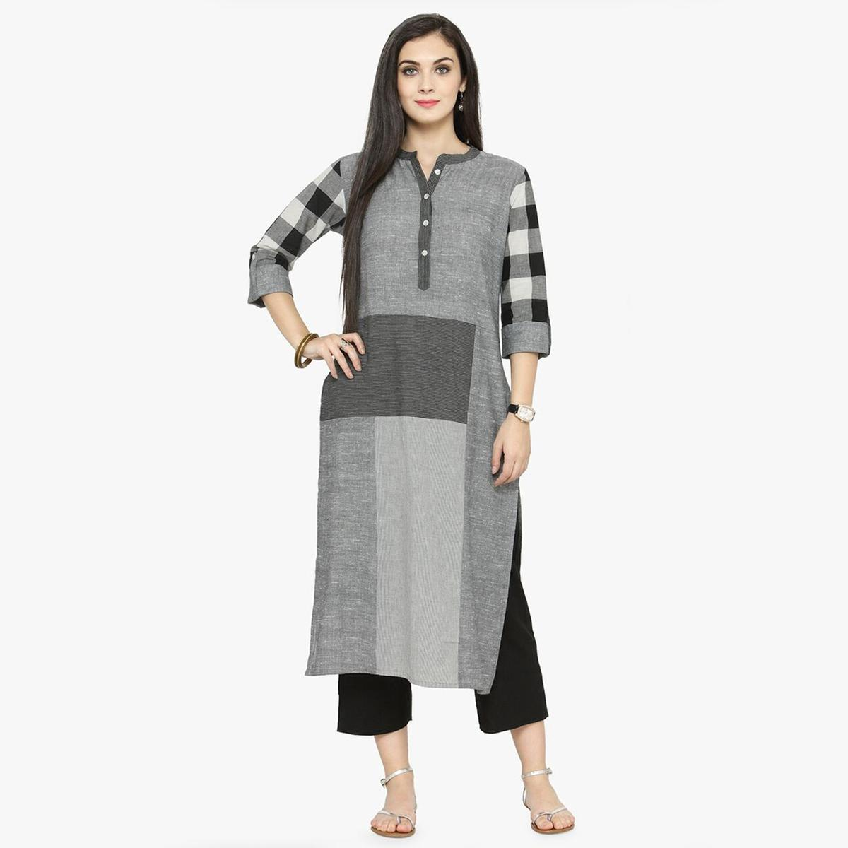 Gray Colored Printed Cotton Kurti