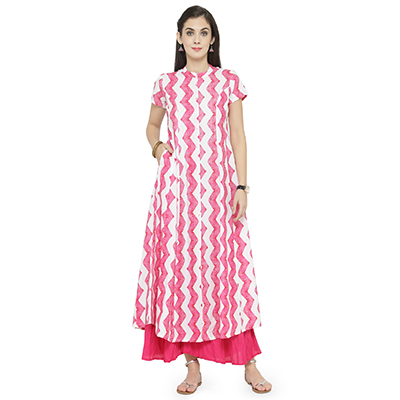 Pink-White Colored Printed Rayon Kurti