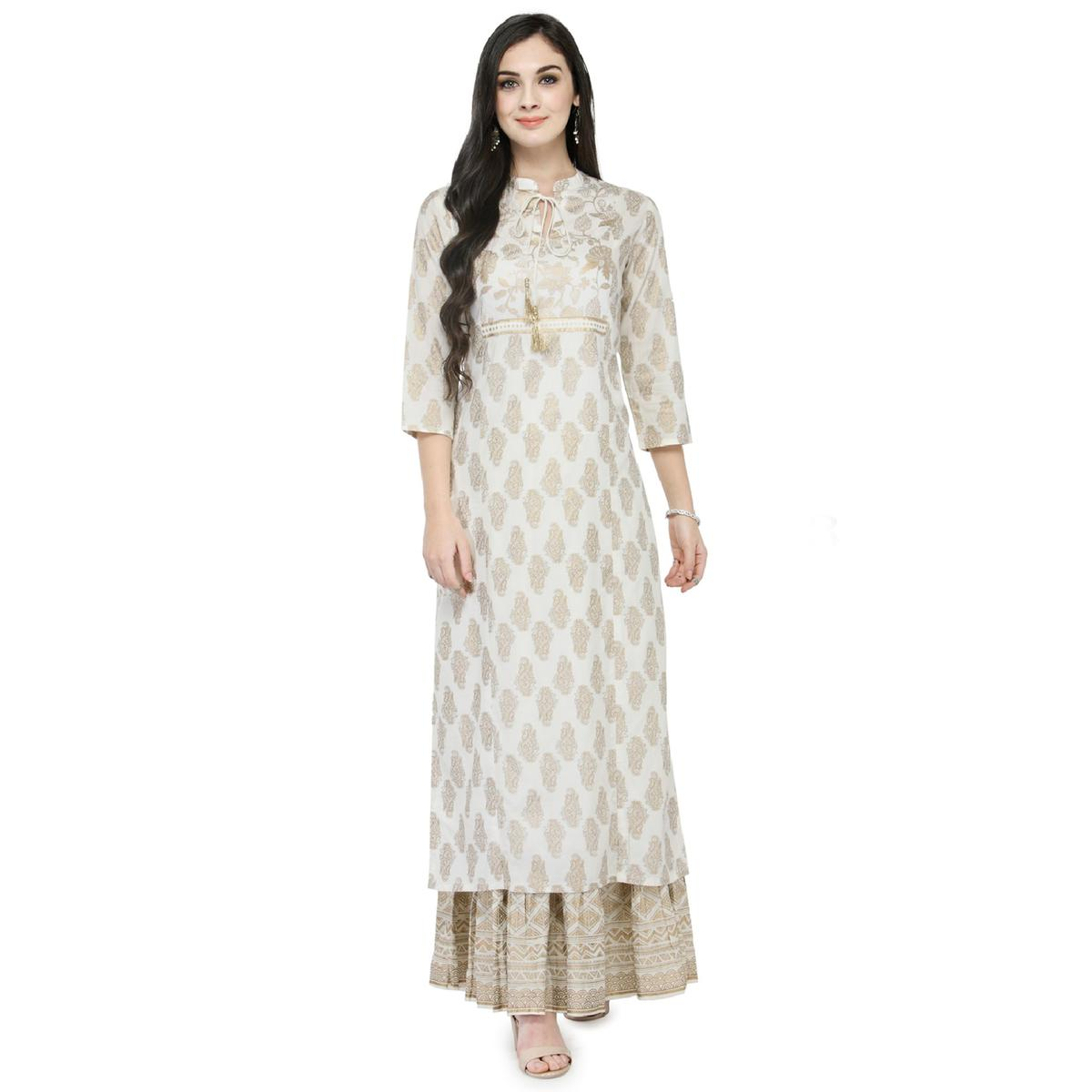 Off-White Colored Printed Cotton Kurti