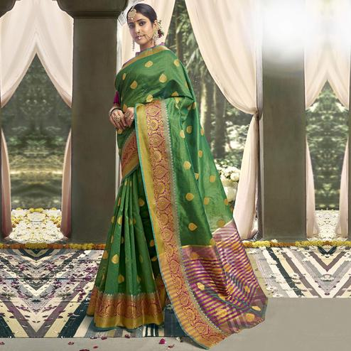 Triveni - Green Color Art Silk Party Wear Saree With Blouse Piece