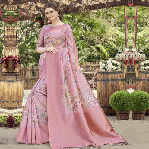 Triveni - Pink Color Art Silk Party Wear Saree With Blouse Piece