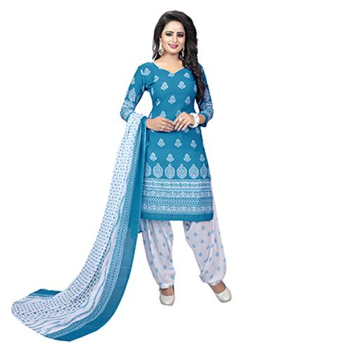 Sky Blue - White Leon Fabric Salwar Suit