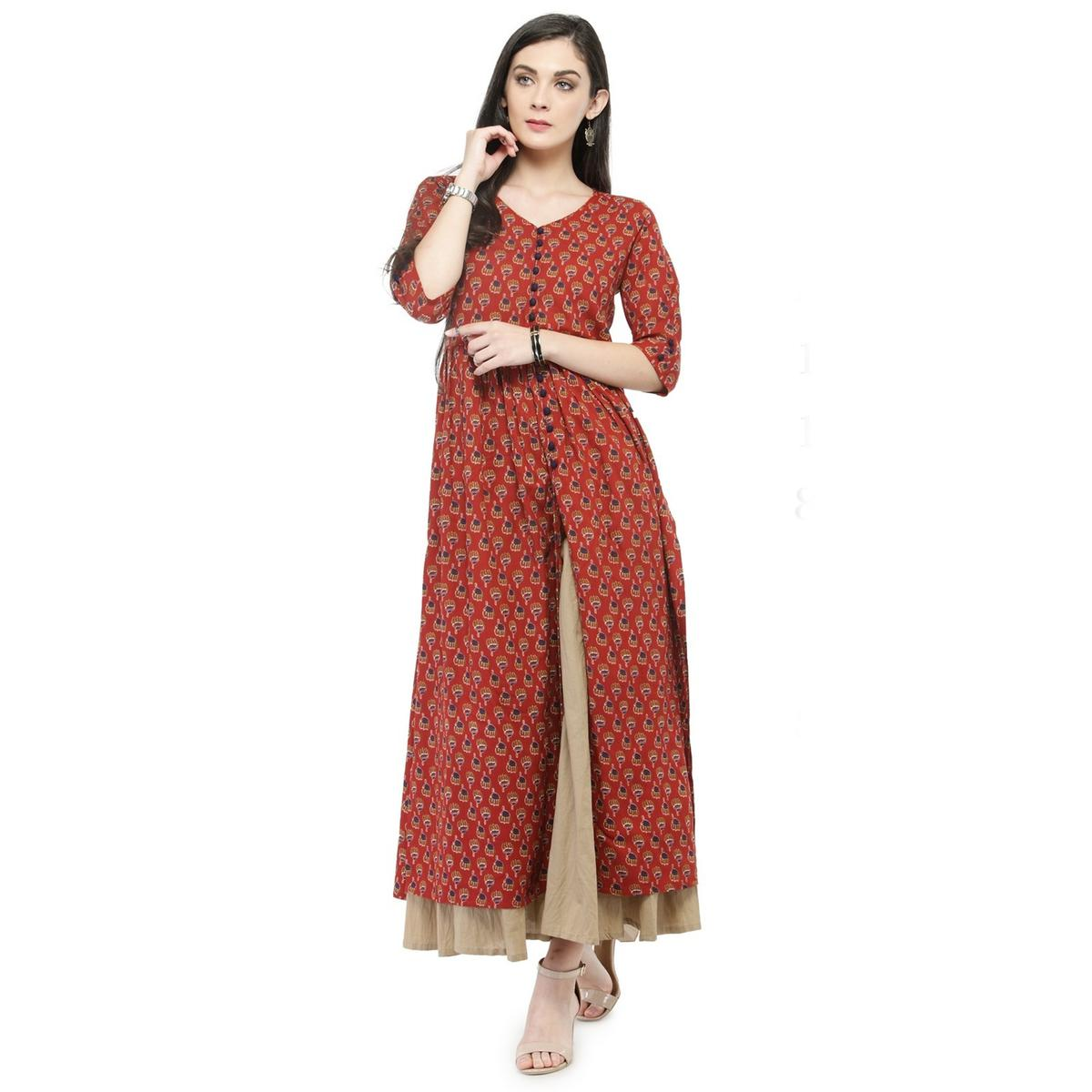 Maroon Colored Printed Pure Cotton Kurti
