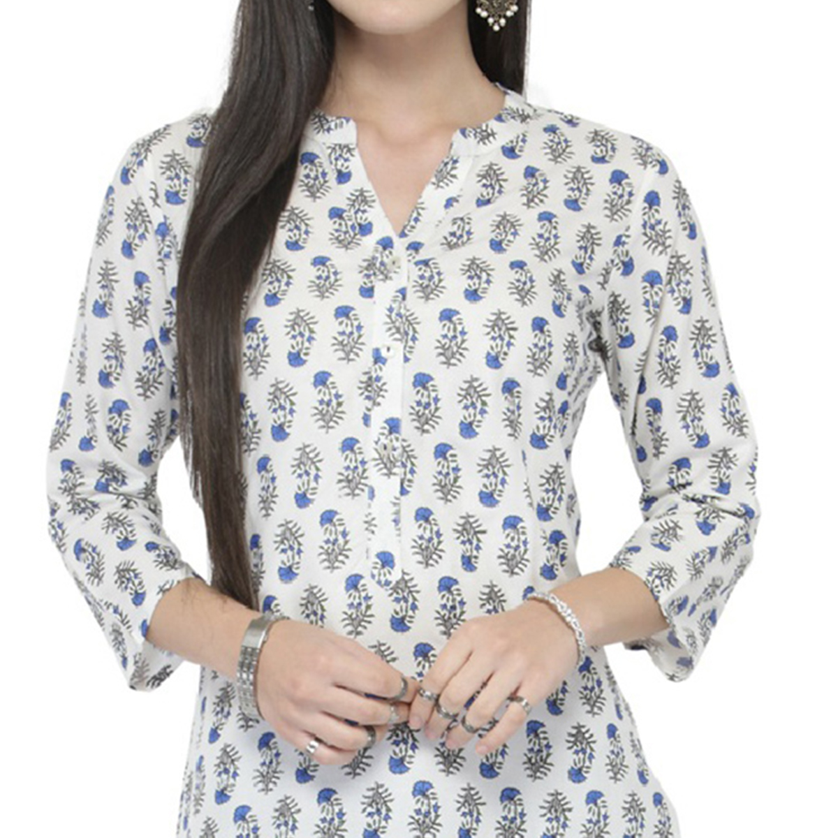 White Colored Printed Cotton Kurti