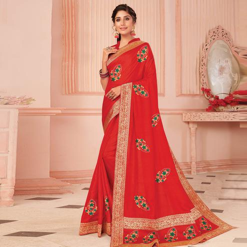 Gorgeous Red Colored Partywear Emboidered Vichitra Silk Saree