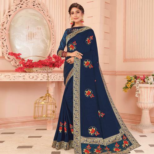 Blissful Navy Blue Colored Partywear Emboidered Vichitra Silk Saree