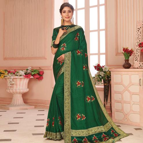 Imposing Green Colored Partywear Emboidered Vichitra Silk Saree