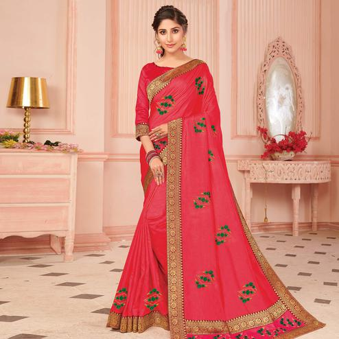 Lovely Pink Colored Partywear Emboidered Vichitra Silk Saree