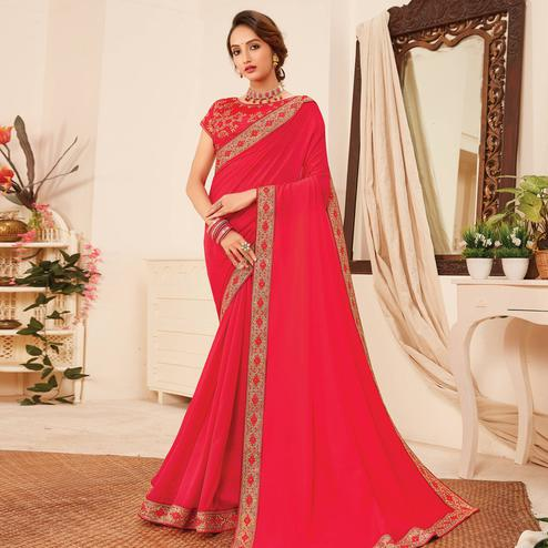 Amazing Pink Colored Partywear Emboidered Vichitra Silk Saree