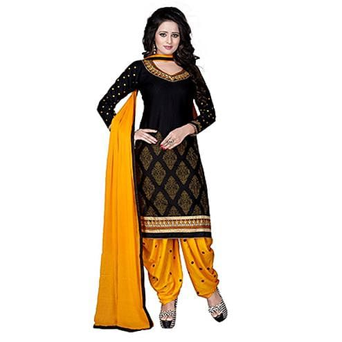Black - Yellow Crape Printed Patiala Suit