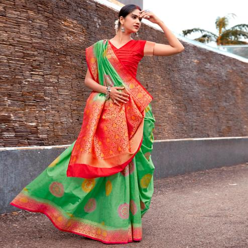 Trendy Green Colored Festive Wear Woven Silk Saree
