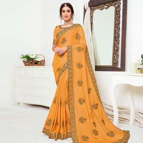Groovy Mustard Yellow Colored Partywear Embroidered Crepe Georgette Saree