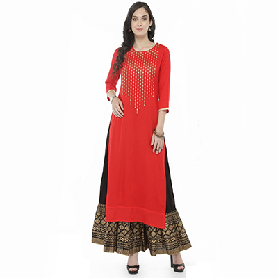 Red Colored Printed Rayon Kurti