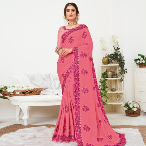 Exclusive Pink Colored Partywear Embroidered Crepe Georgette Saree