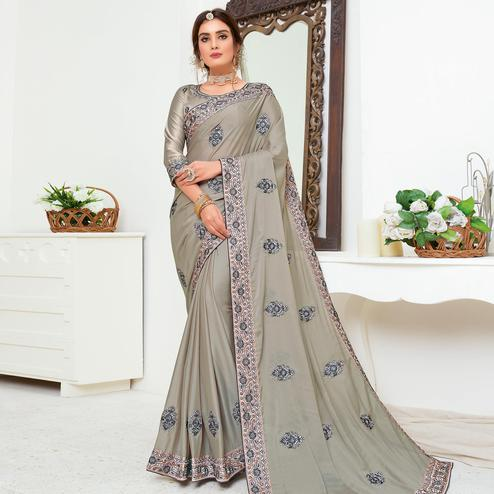 Glorious Grey Colored Partywear Embroidered Crepe Georgette Saree