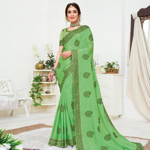 Attractive Green Colored Partywear Embroidered Crepe Georgette Saree