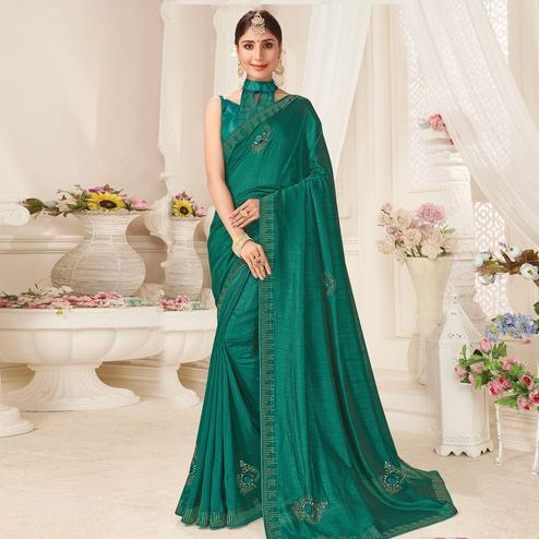Graceful Turquoise Green Colored Partywear Emboidered Vichitra Silk Saree