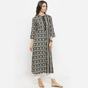 Black Colored Printed Cotton Kurti