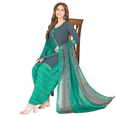 Energetic Grey  - Green Colored Casual Wear Printed Crepe Patiala Dress Material