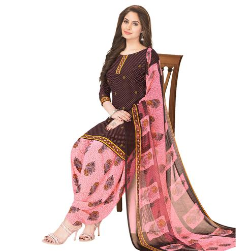 Flattering Brown Colored Casual Wear Printed Crepe Patiala Dress Material