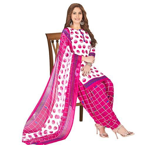 Excellent White - Pink Colored Casual Wear Printed Crepe Patiala Dress Material