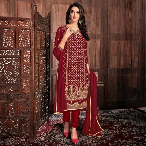 Hypnotic Maroon Colored Partywear Embroidered Georgette Suit