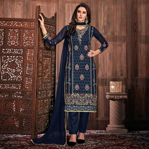 Excellent Navy Blue Colored Partywear Embroidered Georgette Suit