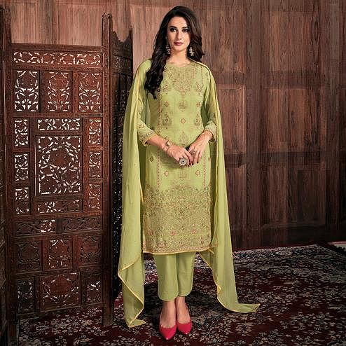 Preferable Pista Green Colored Partywear Embroidered Georgette Suit