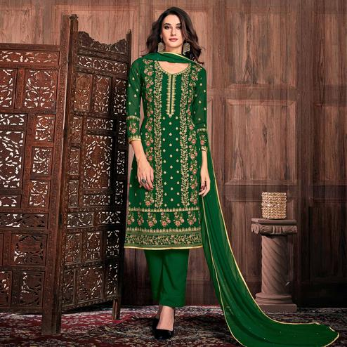 Marvellous Dark Green Colored Partywear Embroidered Georgette Suit