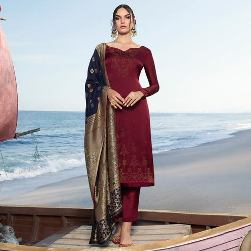 Alluring Maroon Colored Partywear Pure Satin Georgette Suit