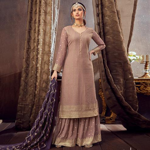 Capricious Light Brown Colored Partywear Embroidered Pure Georgette Palazzo Suit