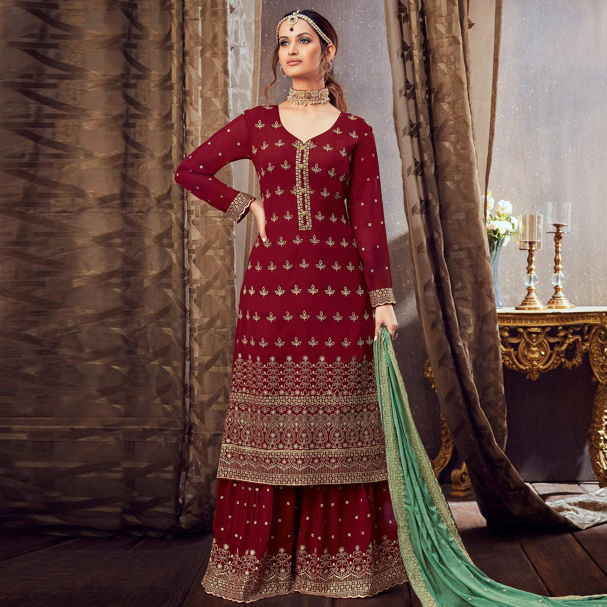 Entrancing Maroon Colored Partywear Embroidered Pure Georgette Palazzo Suit