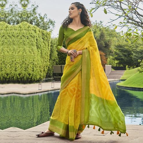 Triveni - Yellow Color Cotton Casual Wear Saree With Blouse Piece