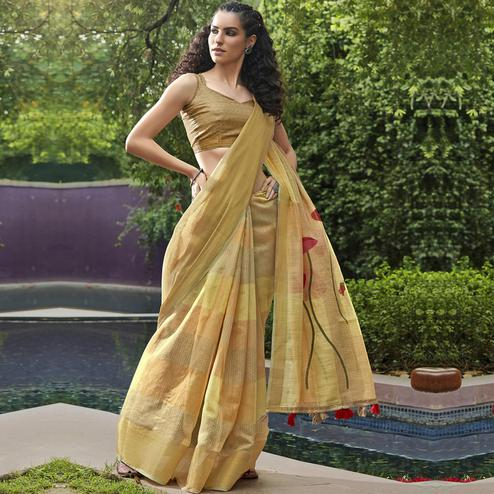 Triveni - Beige Color Cotton Casual Wear Saree With Blouse Piece