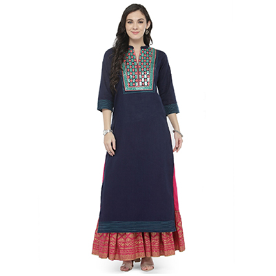 Blue Colored Printed Cotton Kurti