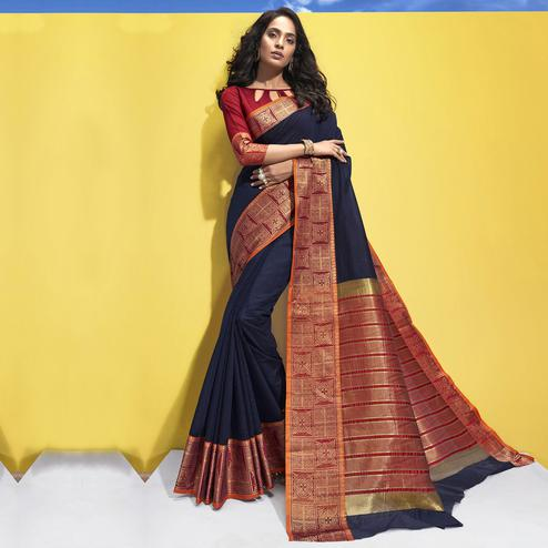 Triveni - Navy Blue Color Art Silk Festival Wear Saree With Blouse Piece