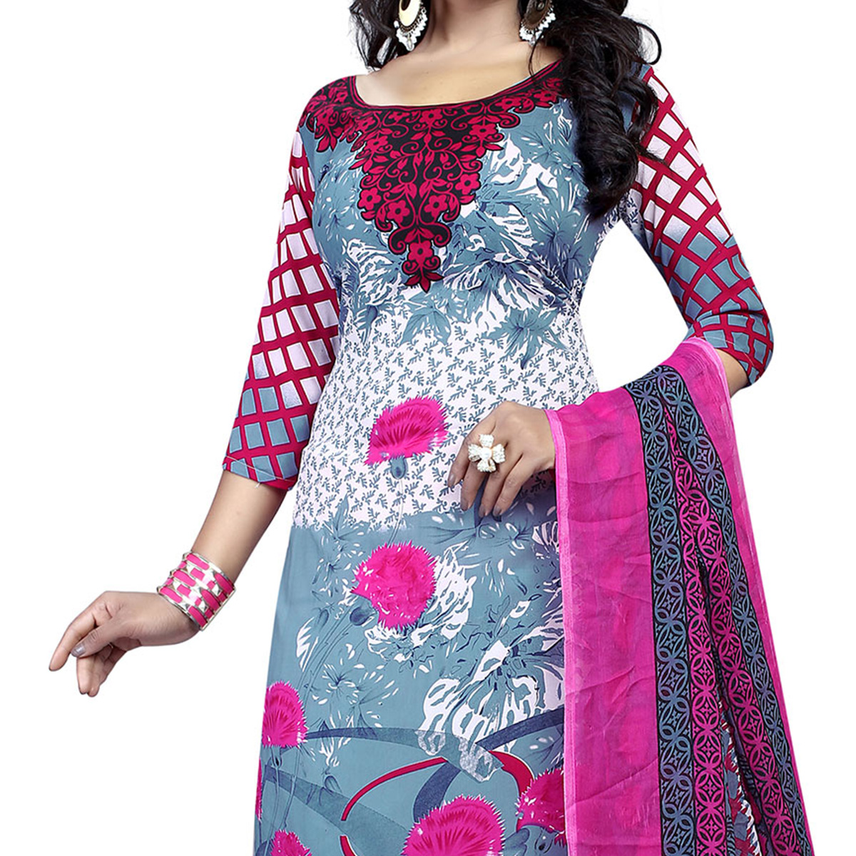 Grey - Pink Casual Printed Salwar Suit
