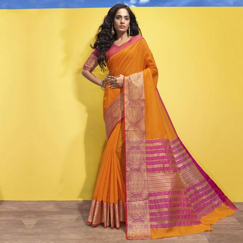 Triveni - Mustard Color Art Silk Festival Wear Saree With Blouse Piece