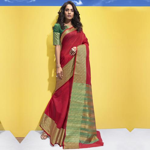 Triveni - Red Color Art Silk Festival Wear Saree With Blouse Piece