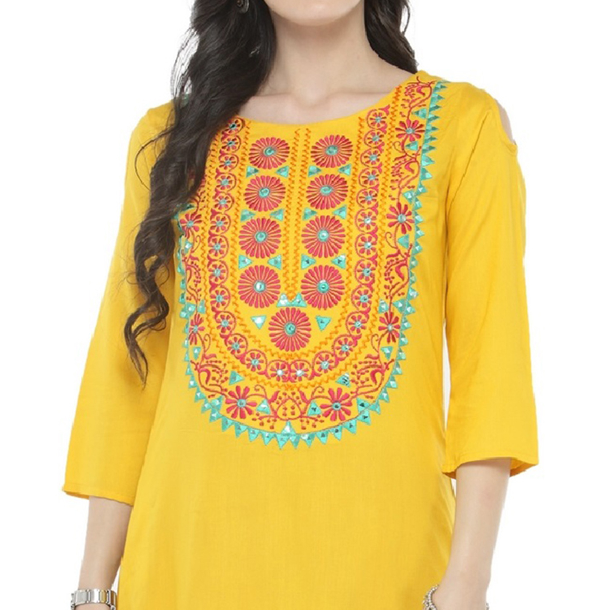 Yellow Colored Printed Rayon Kurti