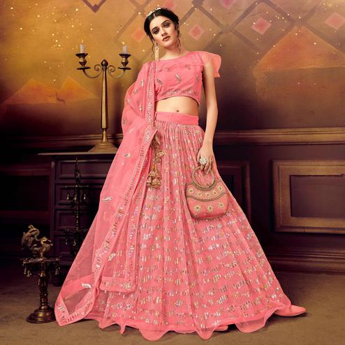 Arresting Pink Colored Partywear Embroidered Soft Net Lehenga Choli