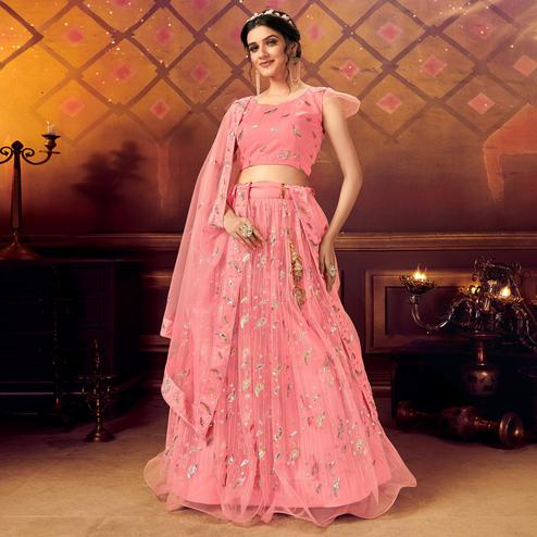 Sophisticated Pink Colored Partywear Embroidered Soft Net Lehenga Choli