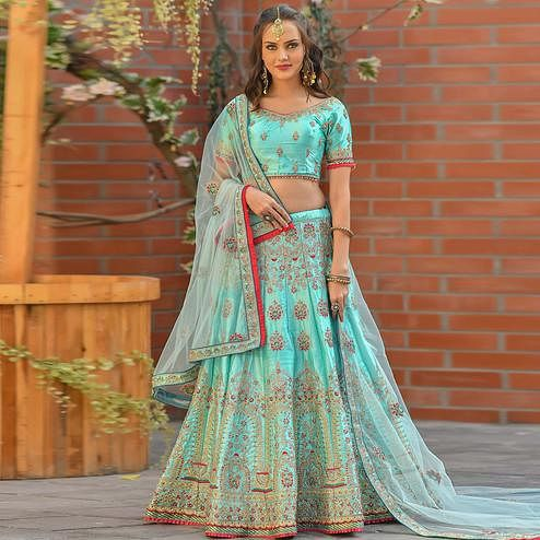 Flaunt Sky Blue Colored Partywear Woven Malai Satin Lehenga Choli