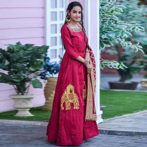 Delightful Red Colored Partywear Embroidered Silk Gown