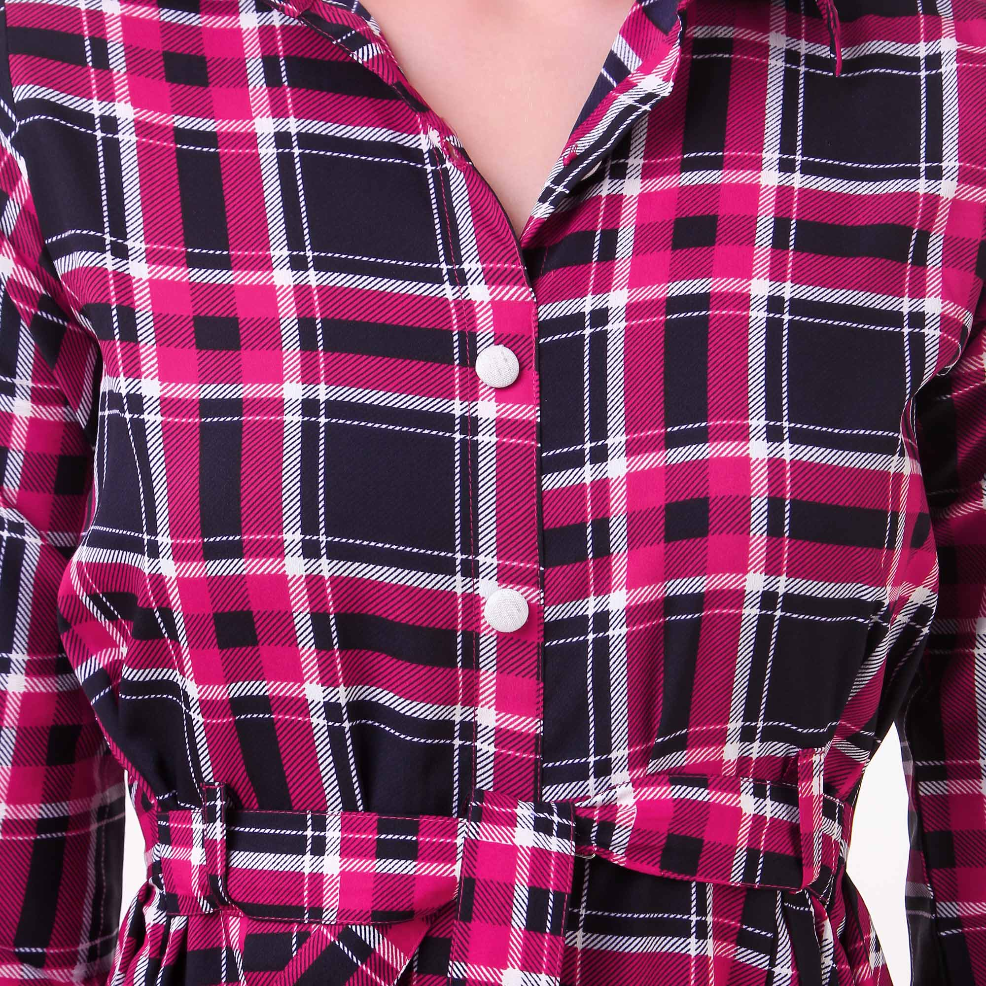 Stylish Pink Checked Casual Wear American Crape Western Dress