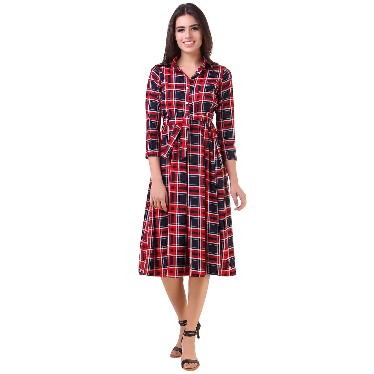 Trendy Red Checked Casual Wear American Crape Western Dress