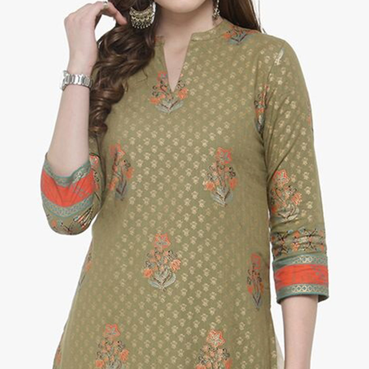 Green Colored Printed Cotton Kurti