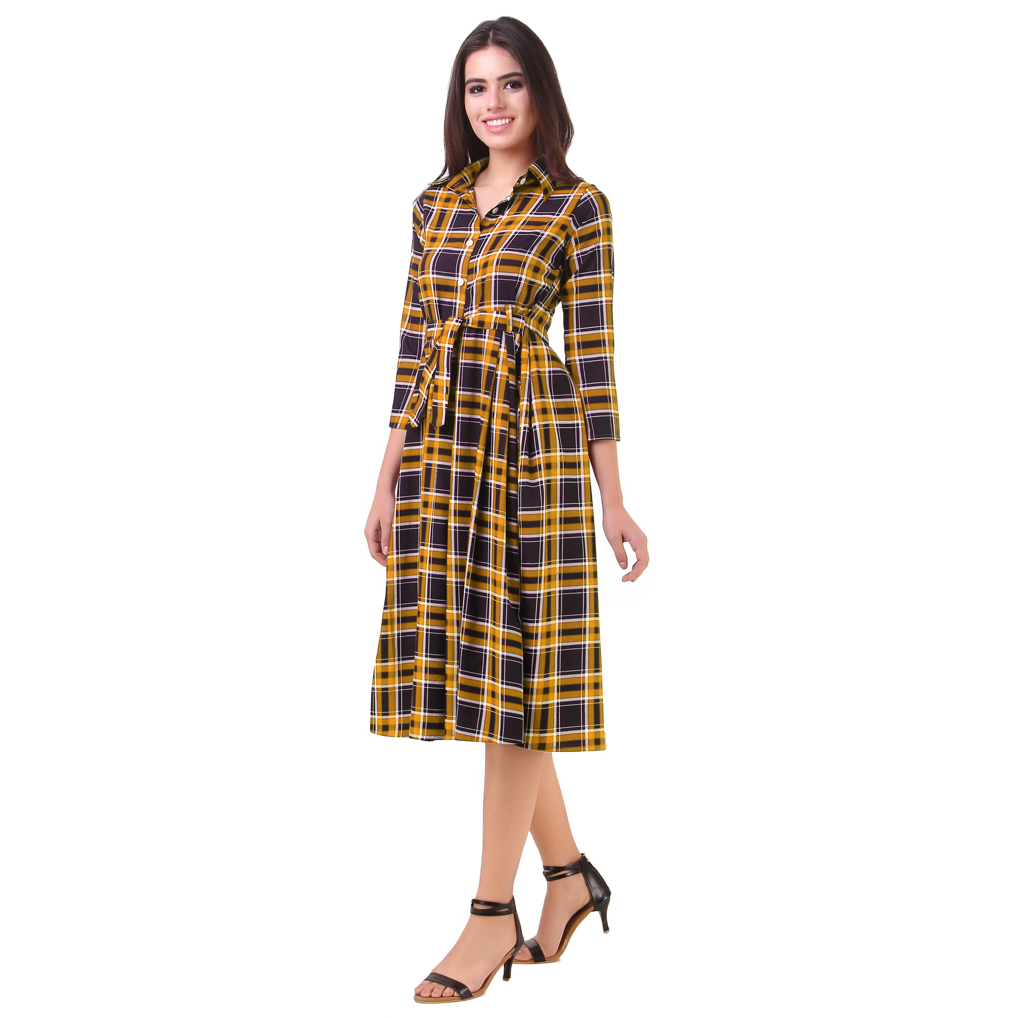 Smart Yellow Checked Casual Wear American Crape Western Dress