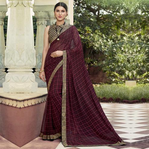 Triveni - Maroon & Pink Color Georgette Casual Wear Saree With Blouse Piece
