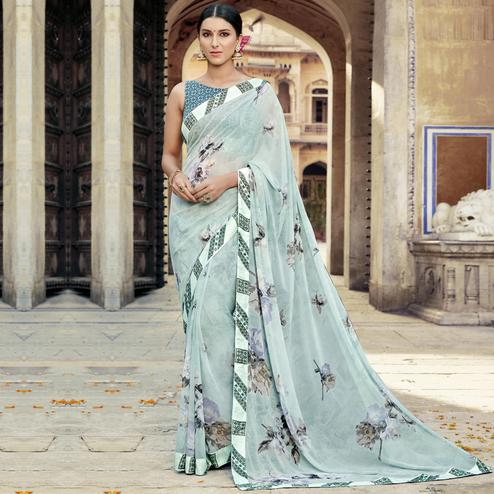 Triveni - Turquoise Color Georgette Casual Wear Saree With Blouse Piece